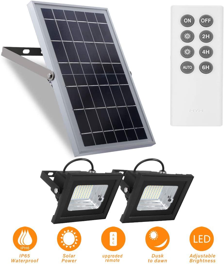 Solar Flood Lights Outdoor Dusk to Dawn Remote Control 10W 6V 13.6 x 9.3 Solar Panels Lights with 800LM Dual 64LED 6500K Bright White Floodlights Ip65 Waterproof Solar Power Lamp for Sign,Shed,Barn