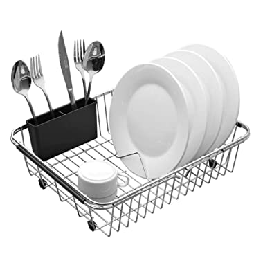 Expandable Dish Drying Rack, 304 Stainless Steel Over Sink Dish Rack, Dish Drainer in Sink or On Counter with Utensil Drying Rack- Rustproof- Large