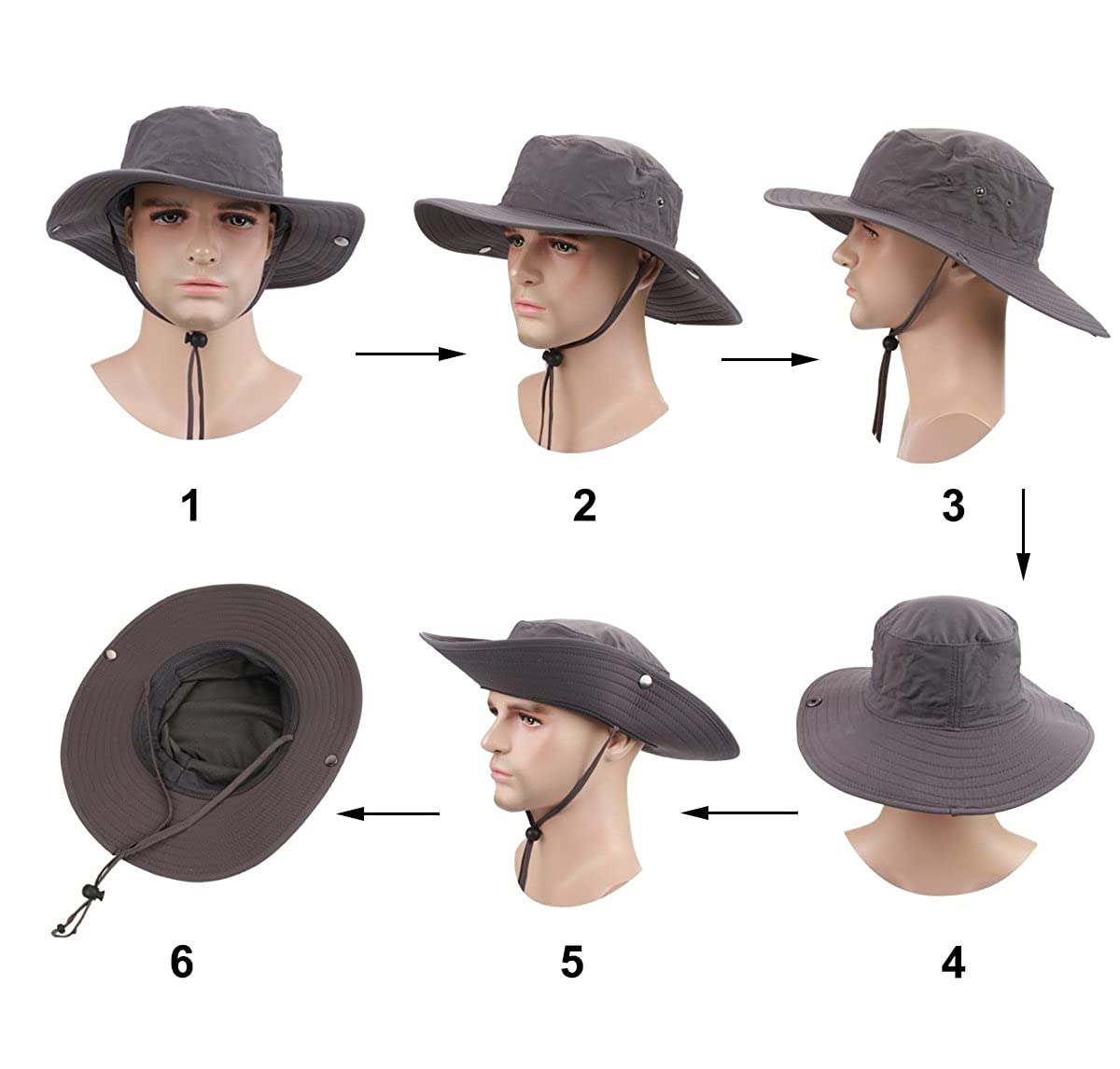 2a7d6333c586f4 ISEYMI Wide Brim Caps Sun Block Collapsible Hats Fishing/Golf Hat  Sombriolet Sun Hat UPF50+ for Men/Women at Amazon Men's Clothing store: