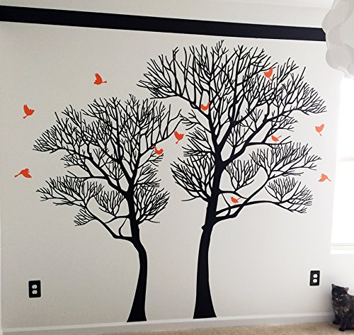 Pop Decors PT-0209-Vc Wall Decal and Sticker Nature Twin Tree