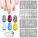 4 PCS DIY Nail Art Finger Templates Image Polish Stamp Plates Stamper Scraper Kit Stamping Beauty Manicure Tools