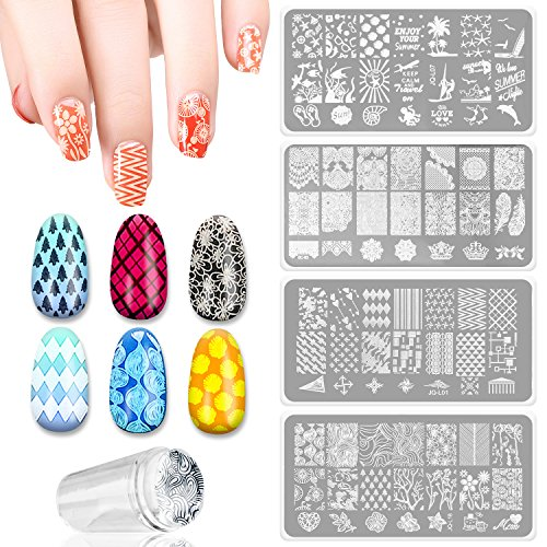 4 PCS DIY Nail Art Finger Templates Image Polish Stamp Plates Stamper Scraper Kit Stamping Beauty Manicure (Halloween Nail Designs Red And Black)