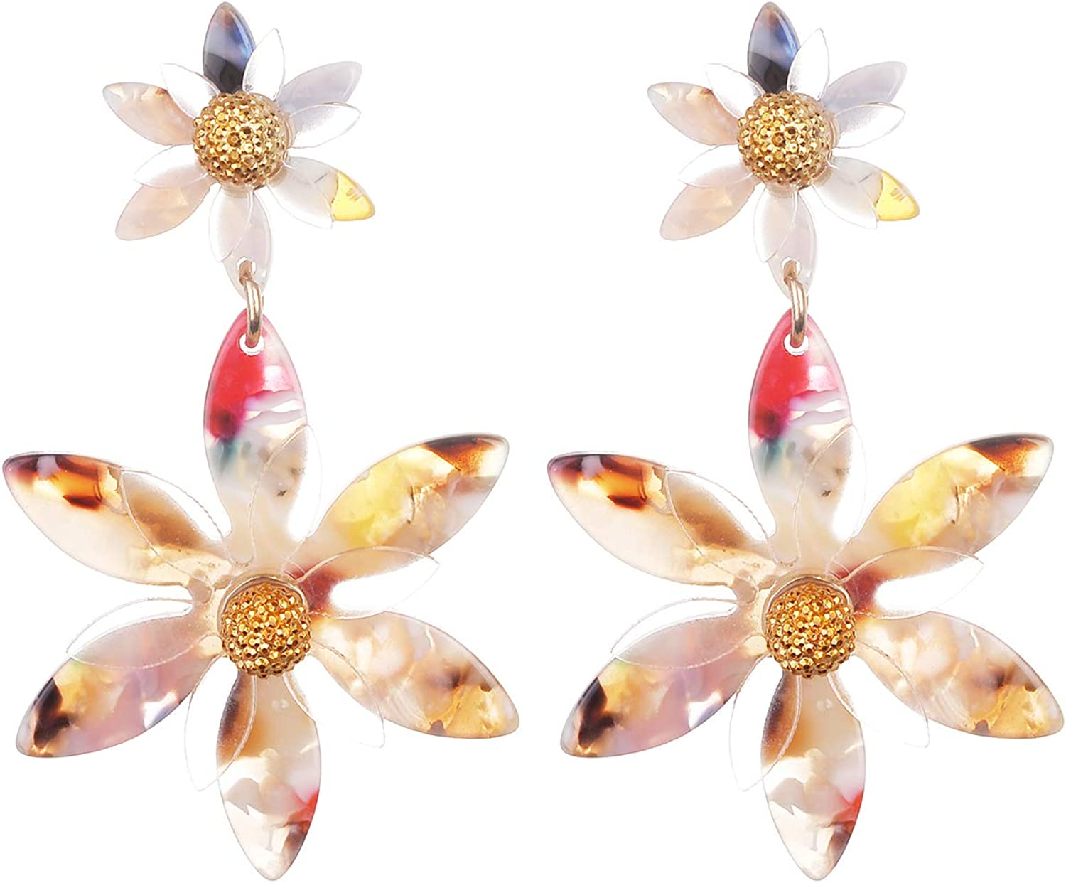 Nicole Miller New York Two Flowers Different Sizes Off-white Acrylic Transparent GoldDangle Earrings