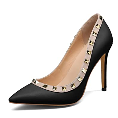 f66ca0ab5e25b Chris-T Women s Black Stilettos High Heels Studs Rivets Shoes Pointed Toe  Slip On Pumps