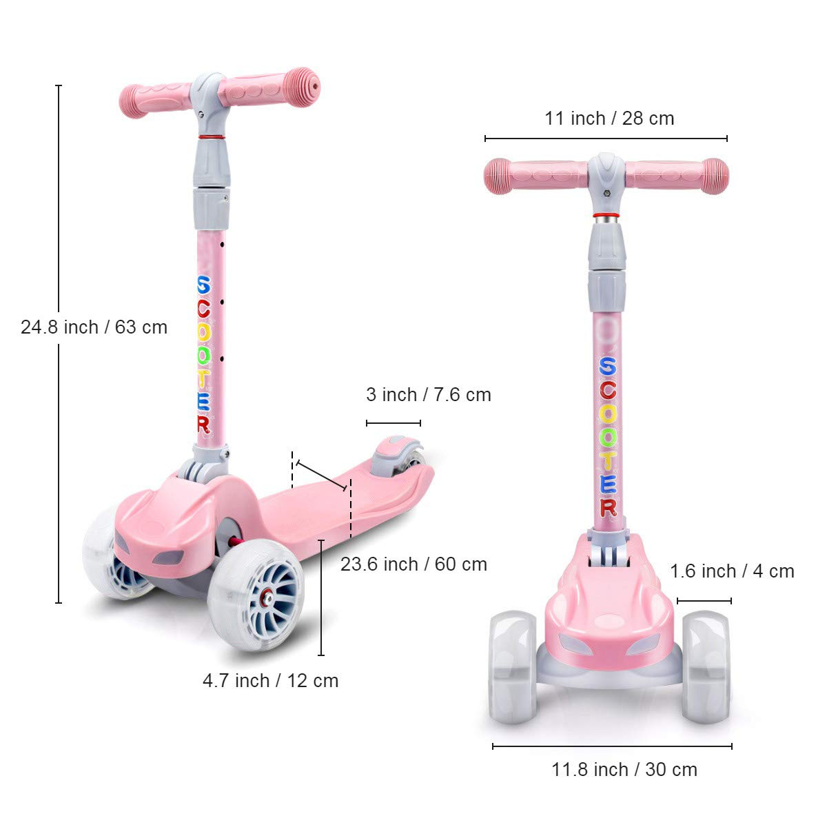 YX Kick Scooter for Kids 3 Wheel Toddlers Scooter 4 Adjustable Height Lean to Steer with PU Flashing Wheels for Boys Girls from 3 to 12 Years Old (Pink) by YX