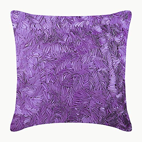 The HomeCentric Decorative Purple Designer Pillow CaseCover 16x16 inch, Silk Throw Pillows for Couch, Solid Color, Ribbon Embroidery, Modern Cushion Cover - Purple Sea