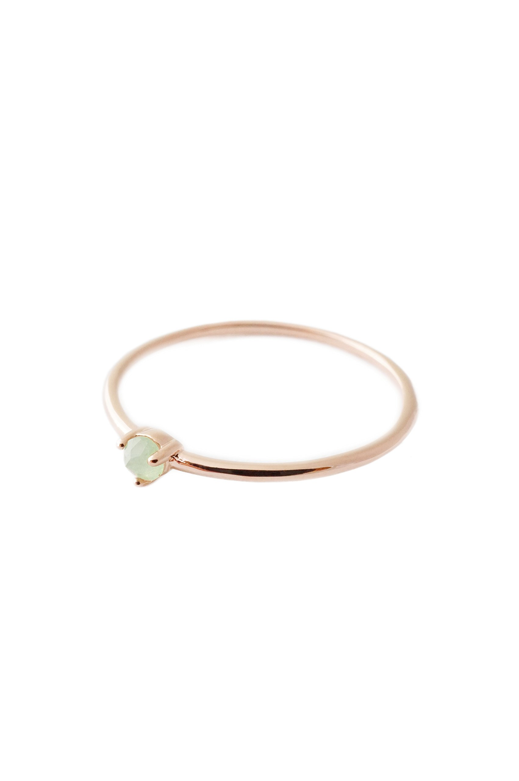 HONEYCAT Green Jade Orb Crystal Ring in 18k Rose Gold Plate | Minimalist, Delicate Jewelry (Rose Gold, 7)