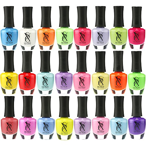 SXC Cosmetics Nail Polish Set, 24 Neon Pastel Colors 15ml/0.5oz Full Size Nail Lacquer Gift lot