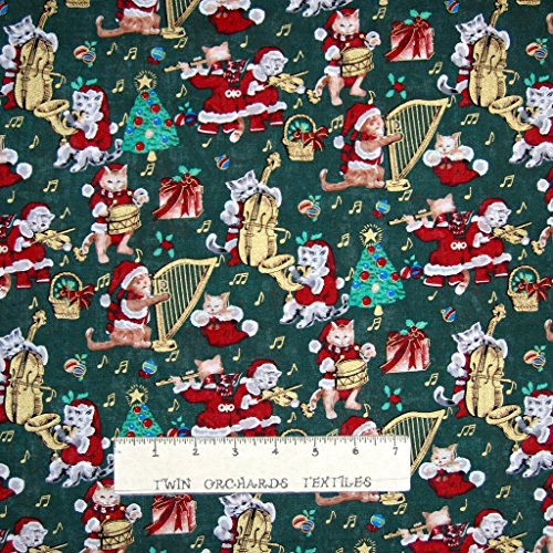 Santa Christmas Fabric (Christmas Fabric - Santa Kitties Cats Music Instrument Green - Springs YARD)