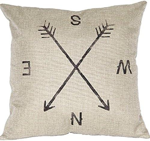 weimay almohada Lino Algodón creativos Brújula almohada cojín hogar decoración 45 cm * 45 cm: Amazon.es: Hogar