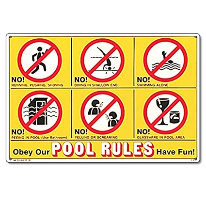 Poolmaster 41357 Sign for Residential or Commercial Swimming, Icon Pool  Rules, 24\