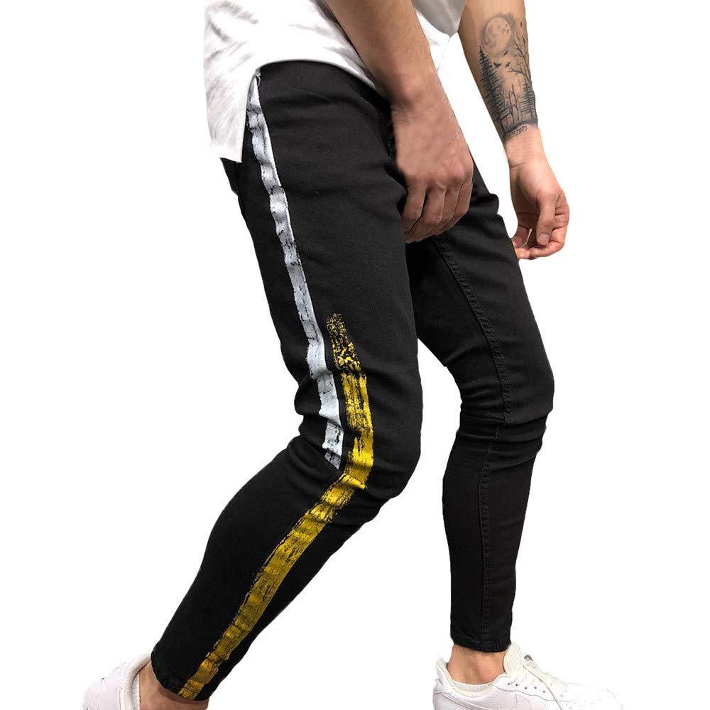 Fashion Jeans Pants,Men's Autumn Denim Cotton Straight Hole Trousers Distressed Jeans Pants Black