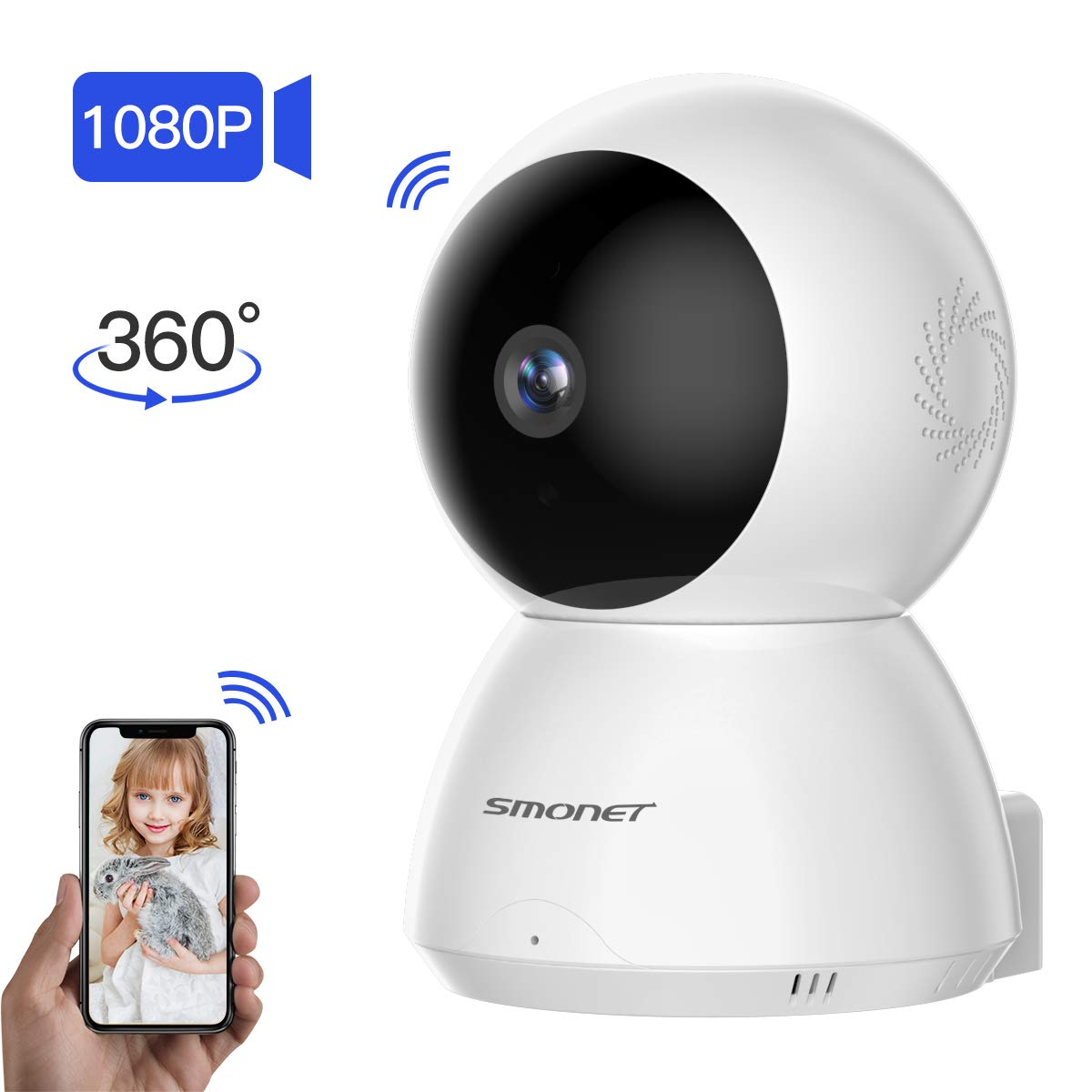 SMONET Security Camera,1080P WiFi Home IP Camera Pan Tilt Zoom Wireless Indoor Camera with Motion Detection,Night Vision,Two-Way Audio for Pet Nanny Elder Baby,Free App