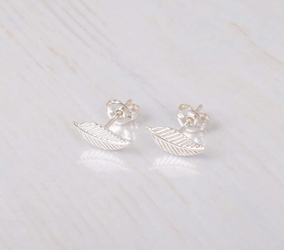 Stamped Leaf Studs Silver Leaf Post Earrings Metalsmith Earrings Silver Leaf stud Earrings Small Silver Leaf Earrings Nature Inspired