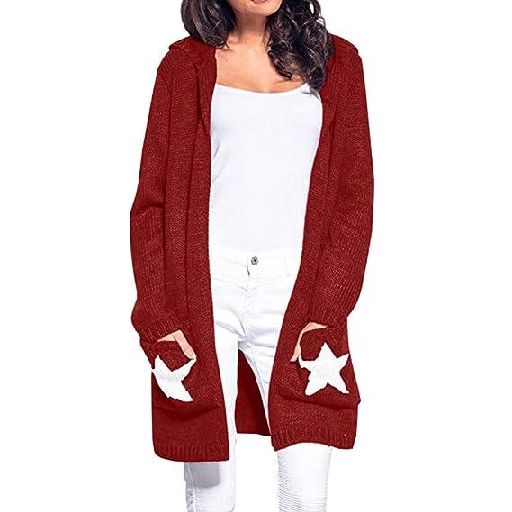 Linlink Abrigos Mujer Invierno Elegantes Mujer de Manga Larga con Capucha Cardigan Estrella Patchwork Abierta suéter Cardigan Frente: Amazon.es: Ropa y ...