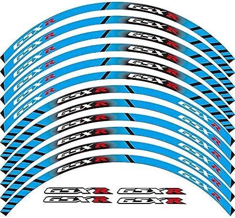 Motorcycle Wheel Sticker 17 Reflective Decals Rim Tape Bike Car Styling For SUZUKI GSX-R White