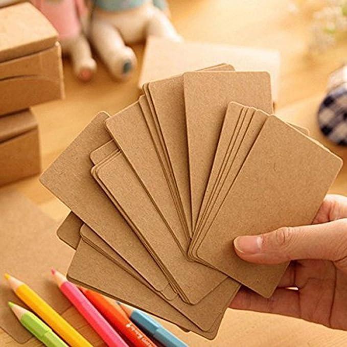Papier Kraft Vierge Fecedy 100 Pices Cartes De Visite Word Carte Message Cadeau