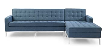 Amazoncom Kardiel Florence Knoll Style Right Sectional Sofa Azure