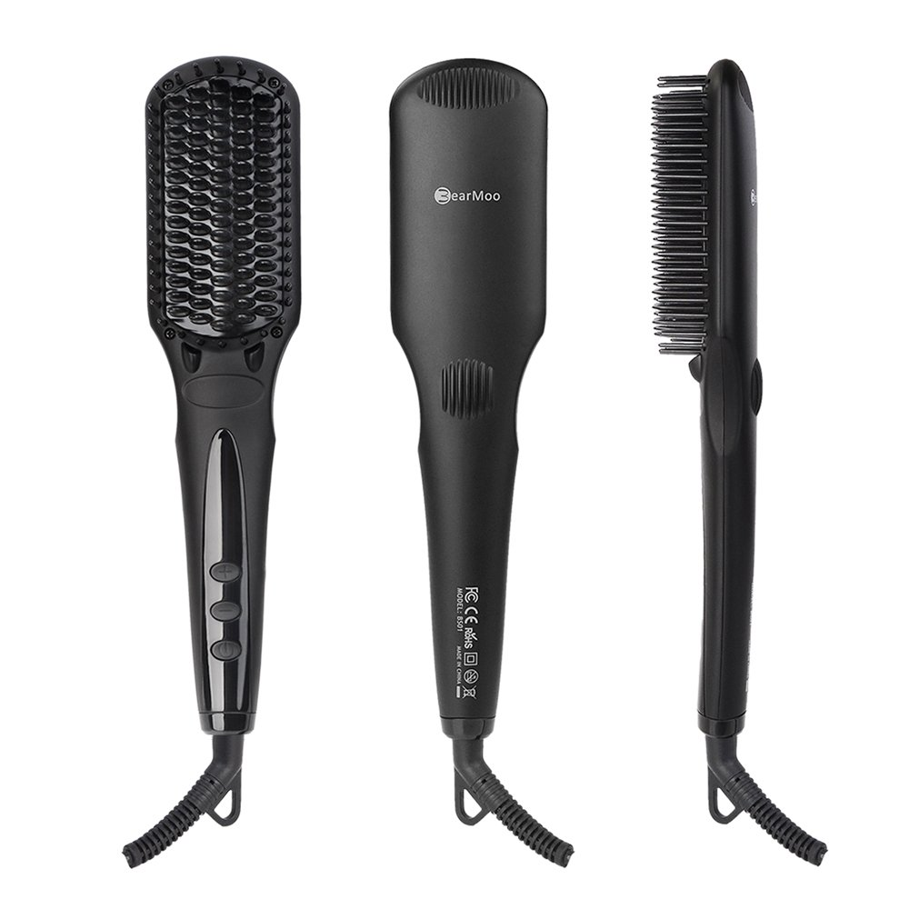 Hair Straightener Brush, BearMoo Ionic Heated Straightening Brush - Electric...