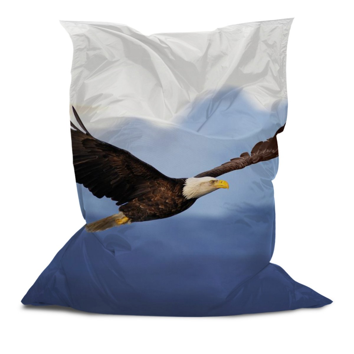 AAA Bean Bags - Comfortable Bean Bag Pillow - Chair - Lounger with Printed American Eagle (5' x 4.4')