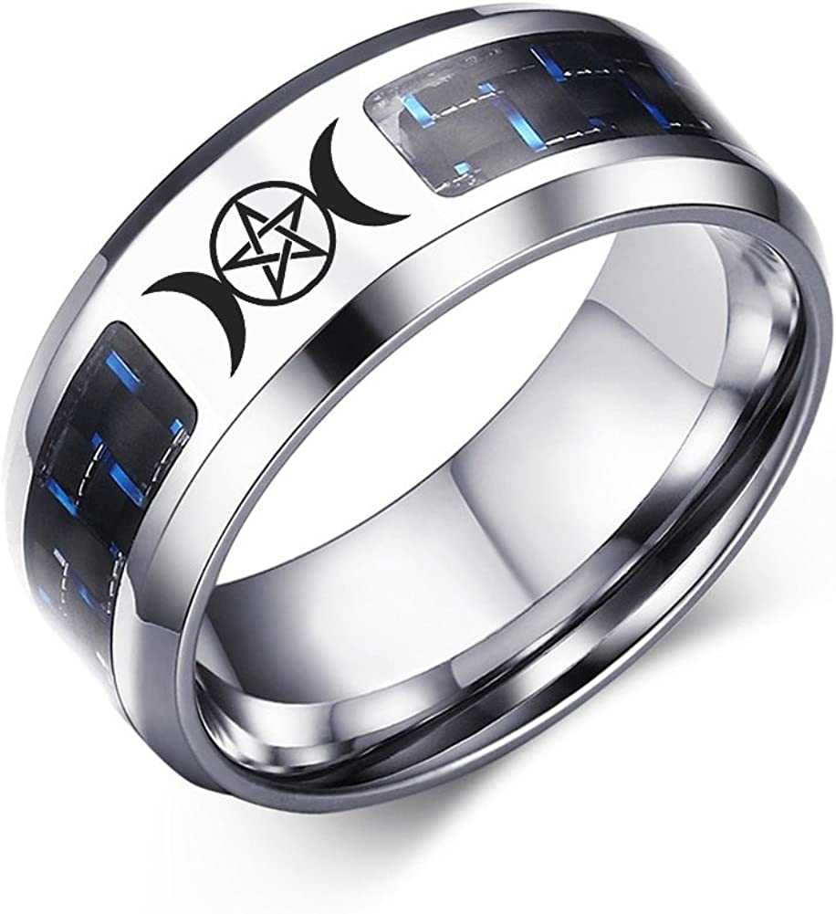 VNOX Stainless Steel Triple Moon Goddess Pentagram with Blue Carbon Fiber Rings for Wedding,Size 7-12