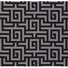Black and Grey Geometric Abstract Damask Upholstery Fabric by the yard