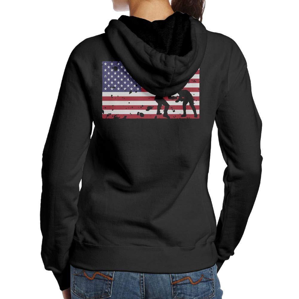 BB&YYY American Flag Wrestling Womens Pullover Hoodie Sweatshirt Back Print Hoodies