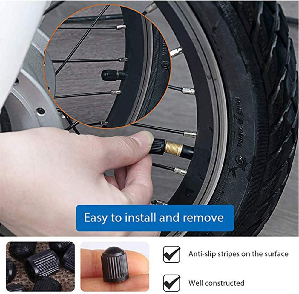 weixinbuy 30 PCS Plastic Valve STEM Caps with Rubber Ring Gasket Motorcycles Black Universal Fit Size Air Tight Seal Tire cap Cover Tire Dust Caps for Cars,Bikes,Trucks,/& Bicycles