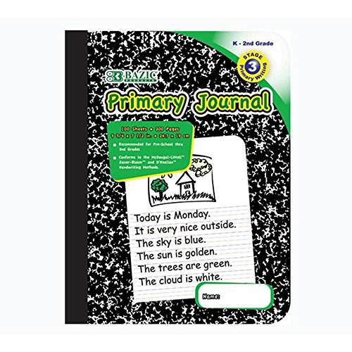 4Pk, BAZIC Primary Journal Marble Composition 100 sheets Book by Bazic