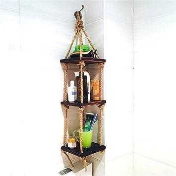 Badezimmer Holz Wandregal mit Hanfseil für Wohnzimmer ...
