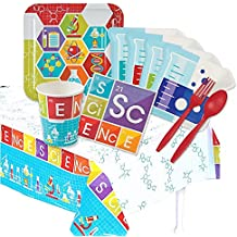 Science Party Supplies - Deluxe Kit for 16 - Paper Plates, Napkins, Cups, Tablecover