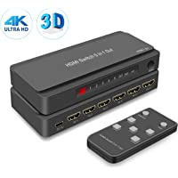 HDMI Switch HDMI Selector Switch with Power Adapter for Nintendo Switch, PS3/PS4, Xbox, Fire Stick, ROKU, HDTV Support 1080P 4K@30hz and 3D (5 in 1 Out HDMI Switch)