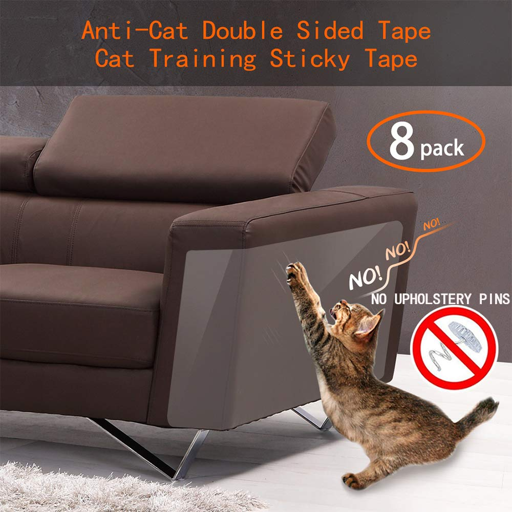 Anti Cat Scratching Deterrent Tape, Scratch Protection Tapes for Pet, Clear Double Sided Training Tape, How to Love Your Pet by Protect Your Upholstered Furniture is the Best choice(Pins free)(8 Pack) by Binary Barn