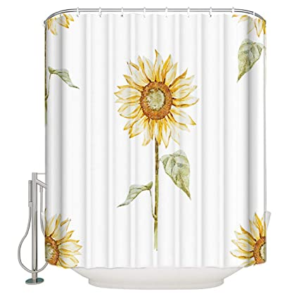 Xspring Sunflower Shower Curtain Home Decoration Mildew Resistant Waterproof Polyester Fabric Machine Washable Curtains For