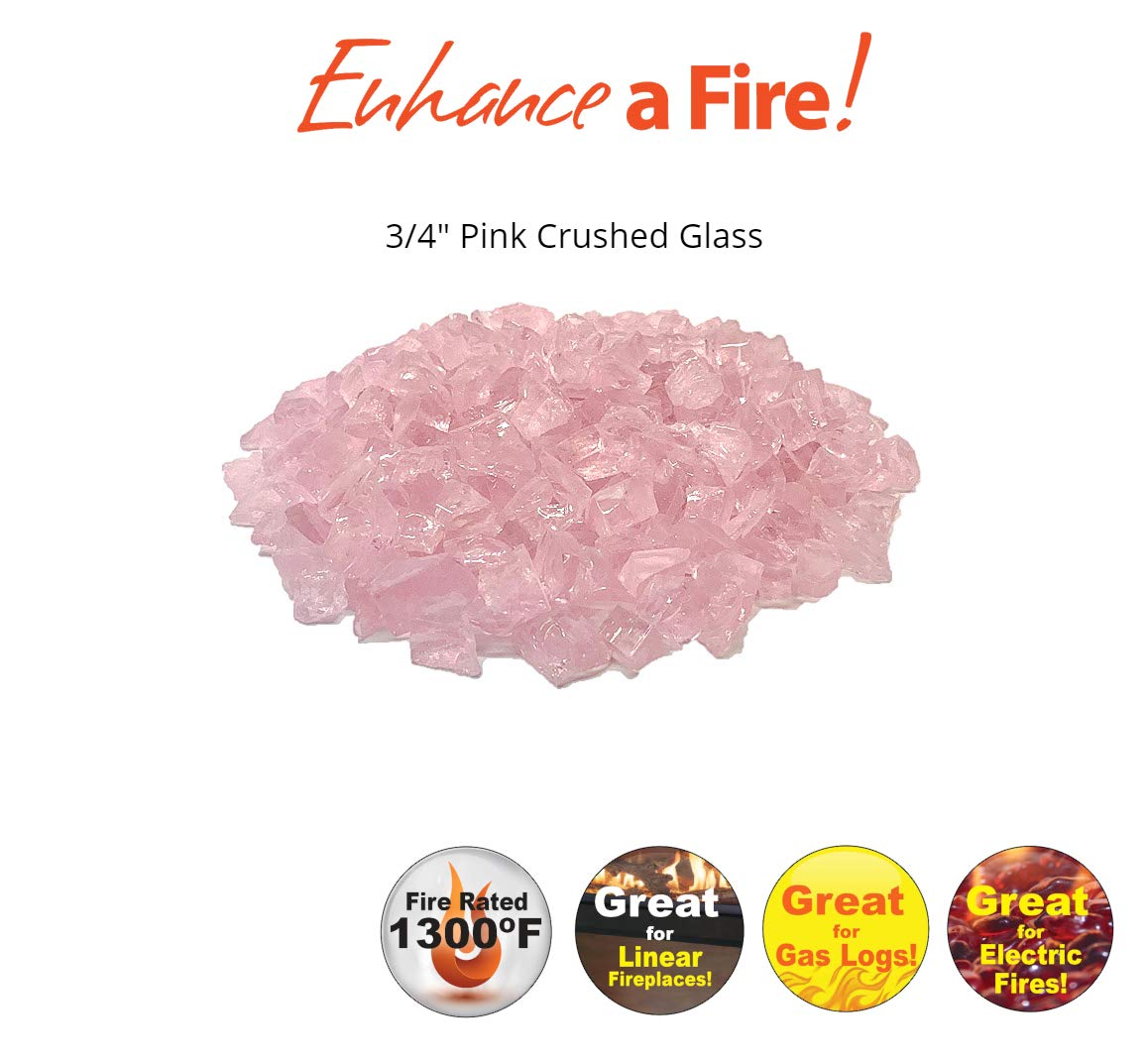 Enhance A Fire! ¾'' Recycled Crushed Fire Glass (15, Pink Ice) by Enhance A Fire!