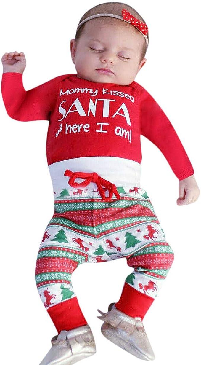K-youth Ropa Bebe Niño Navidad Invierno Ropa de Niña a la Moda 2018 Camiseta de Manga Larga Conjunto Bebe Niño Otoño Conjunto Niña Pantalon y Top Ropa de Dormir para Bebe: Amazon.es: