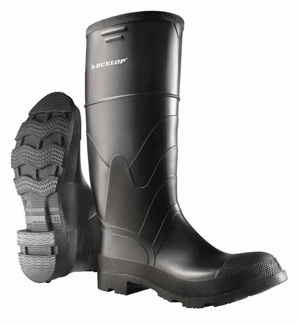 16''H Mens Knee Boots, Plain Toe Type, PVC Upper Material, Black, Size 8 - 1 Each