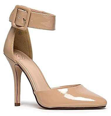 Breckelle s Womens Ankle Strap Pointy Toe Heels Beige Patent 7