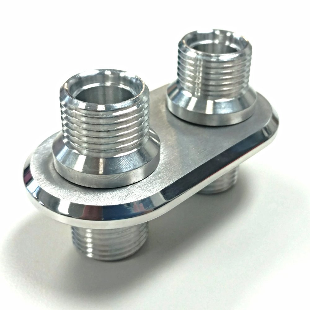 Anodized Aluminum 2 Port (1-L 1-L) Ac Air Conditioning Heater Hose Firewall Bulkhead Pirate Mfg