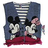 Disney Little Girls Navy Blue Mickey Minnie Friinged Hem Knit Vest 7-8