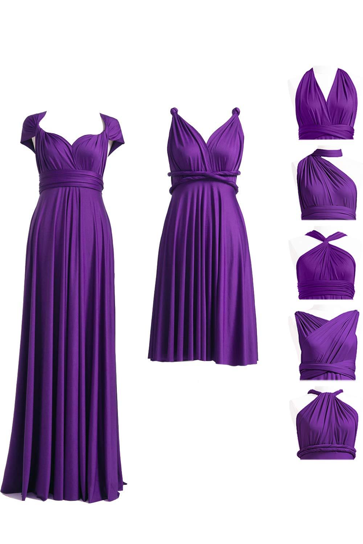 Purple Infinity Dress with Bandeau, Convertible Dress ...