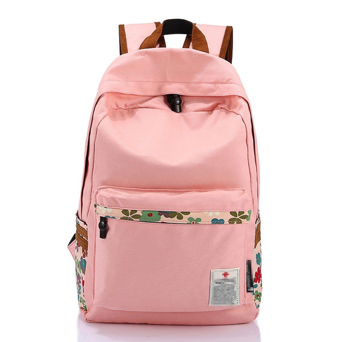 Girl Others学生キャンバスファッションカレッジ風防水スクールバッグ ピンク 01007 B0744GT5RV ピンク