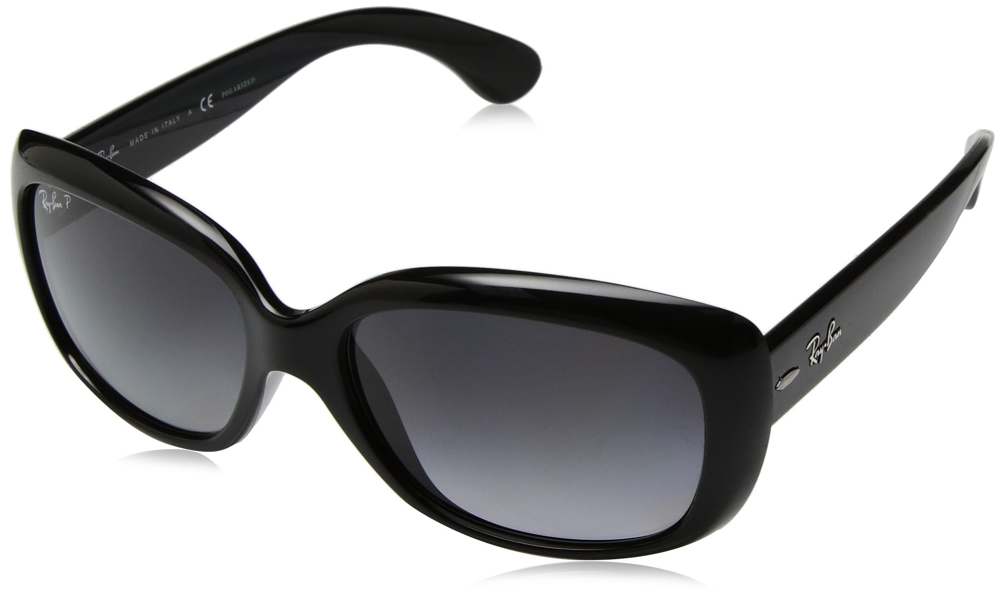 RAY-BAN Women's RB4101 Jackie Ohh Sunglasses, Black/Polarized Grey Gradient, 58 mm by RAY-BAN