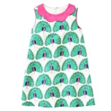 HILEELANG Little Girls Cotton Dress Sleeveless Casual Summer Sundress Flower Printed Jumper Skirt,6T/(6-7YRS)130cm,7#greenpeacock