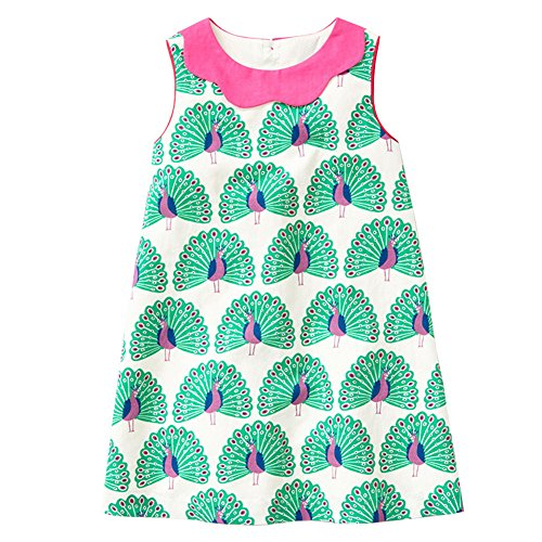HILEELANG Little Girls Cotton Dress Sleeveless Casual Summer