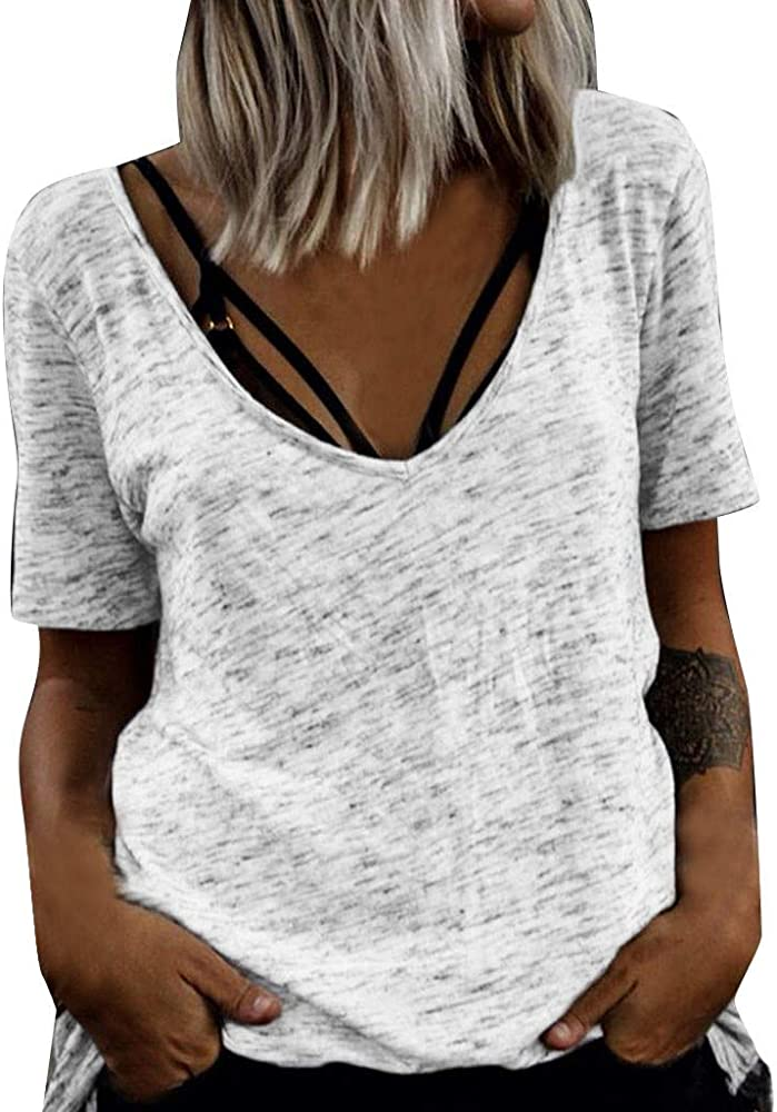 Camisas de Mangas Cortas Mujer Tallas Grandes Corta con V Blusa Cuello Casual Suelto T-Shirt Tops Camisa Raya Redondo Manga Larga Moda Impresa Camiseta Verano Suelta: Amazon.es: Ropa y accesorios
