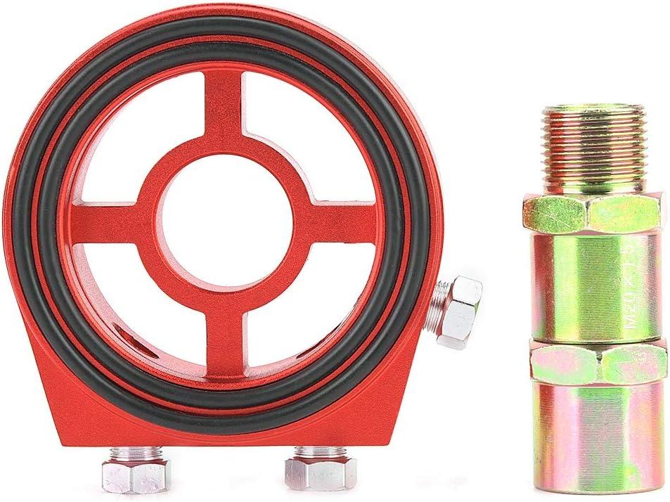 Yctze Placa enfriadora de aceite, enfriador universal de filtro de aceite de aluminio Placa encajonada Kit de adaptador de indicador de temperatura de presión de aceite