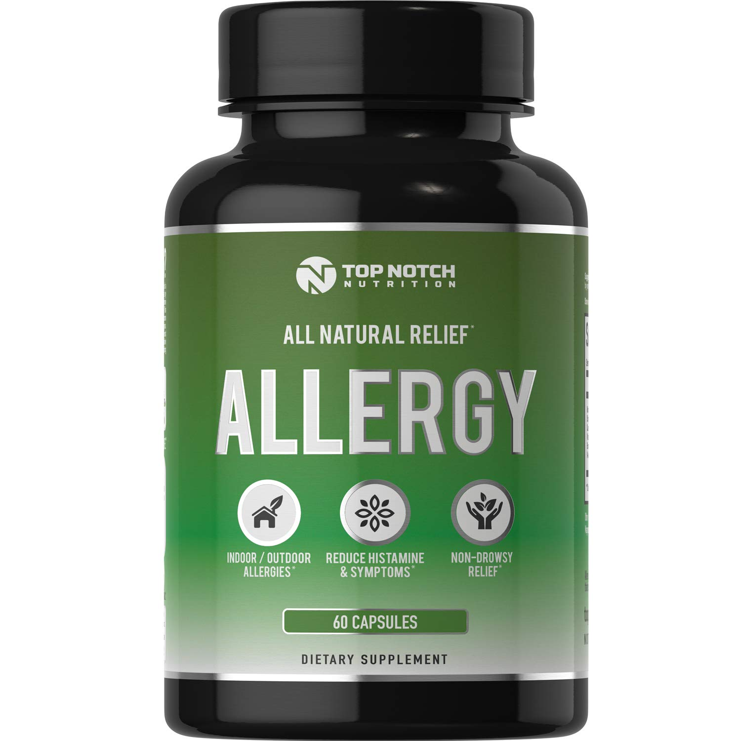 Top Notch Nutrition Natural Allergy Relief Pills Outdoor Indoor Pet Allergies Food Sensitivities Healthy Histamine Levels Antioxidants Moringa Stinging Nettle Quercetin Vitamin C Bromelain and NAC by TOP NOTCH NUTRITION