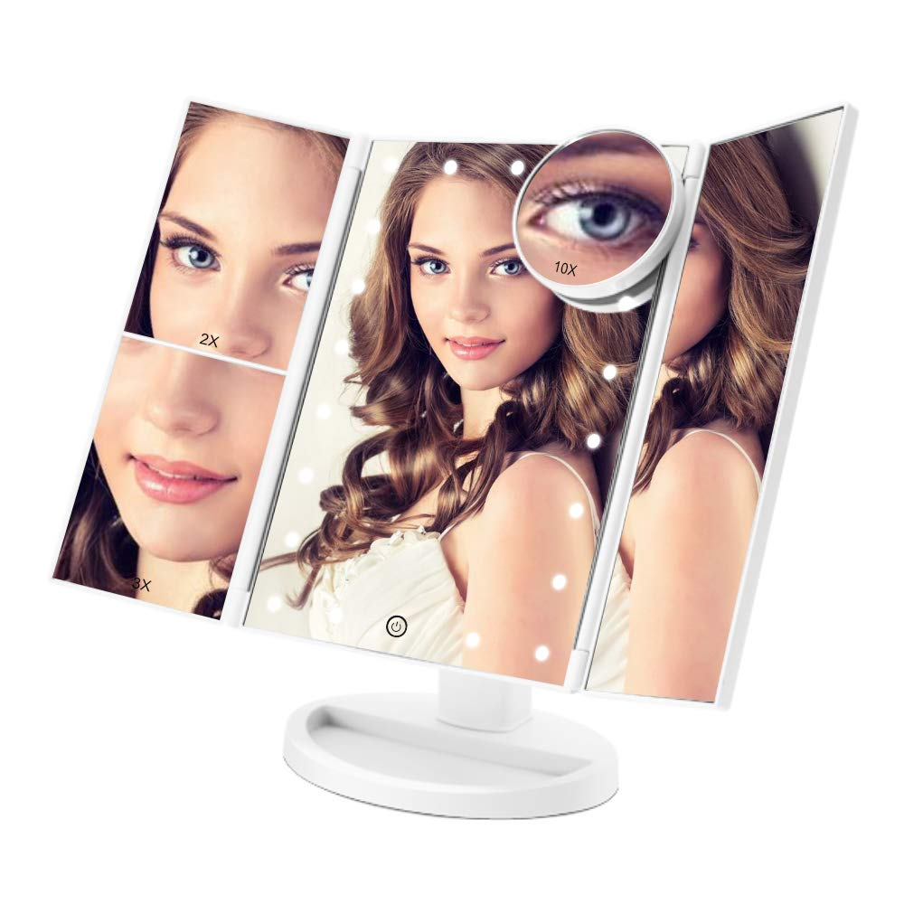 Makeup Vanity Mirror with 21 LED Lights COSMIRROR Trifold Lighted Makeup Mirror with 1X//2X//3X//10X Magnification and Touch Screen 180 Degree Rotation Dual Power Supply Light Up Mirror White