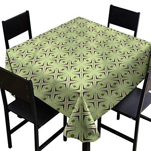 (haommhome Waterproof Tablecloth Mid Century Atomic Boomerang Soft and Smooth Surface W70 xL70 Indoor Outdoor Camping Picnic)
